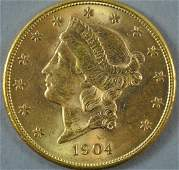 1904-S $20 DOUBLE EAGLE US GOLD COIN