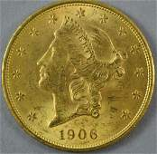 1906-D $20 DOUBLE EAGLE US GOLD COIN