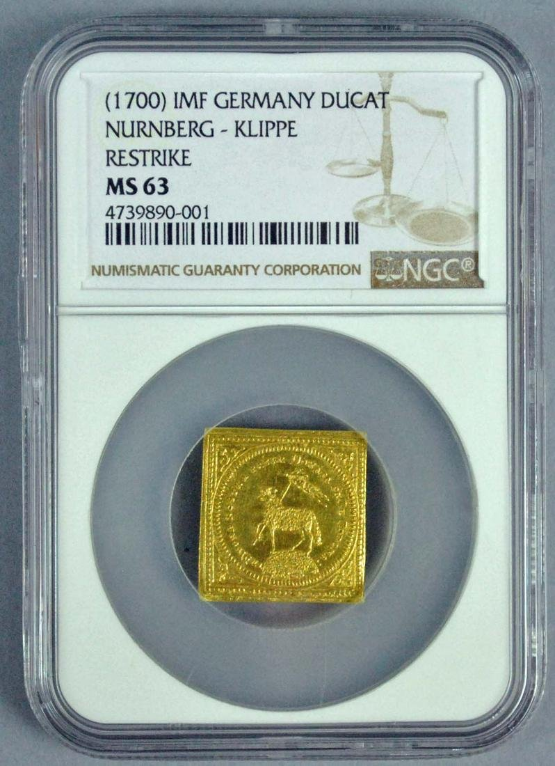 GERMANY GOLD NURNBERG KLIPPE RESTRIKE DUCAT MS63