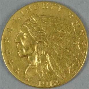 1912 $2.50 INDIAN HEAD QUARTER EAGLE US GOLD COIN