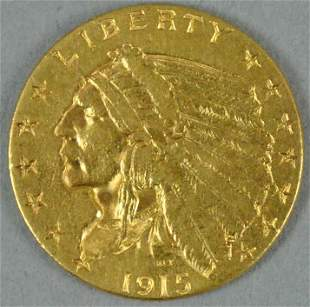 1915 $2.50 INDIAN HEAD QUARTER EAGLE US GOLD COIN