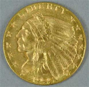 1925 $2.50 INDIAN HEAD QUARTER EAGLE US GOLD COIN