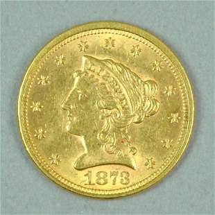 1873 US GOLD QUARTER EAGLE $2.50 COIN