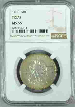 1938 50C TEXAS COMMEMORATIVE NGC MS65