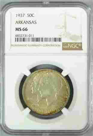 1937 50C ARKANSAS COMMEMORATIVE NGC MS66
