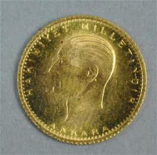 1923/39 TURKEY 25 KURUSH GOLD COIN