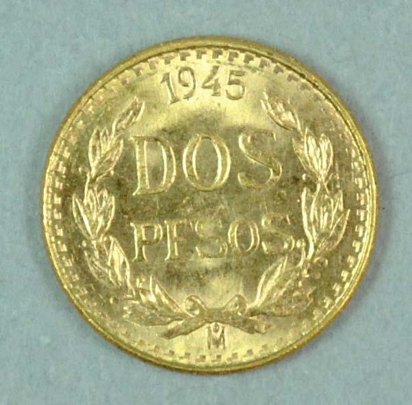 1945 MEXICO DOS PESOS GOLD COIN