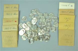 60 UNCIRCULATED US ROOSEVELT SILVER DIMES