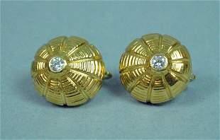 PAIR 18K TIFFANY SCHLUMBERGER DIAMOND EARRINGS