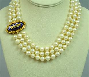 18K CULTURED PEARL CHOKER WITH DIAMOND CLASP