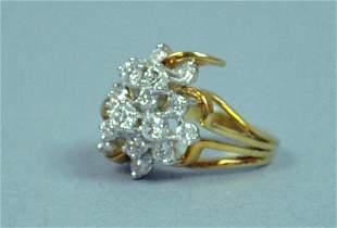 18K DIAMOND CLUSTER RING, 2.25CTW