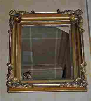 ANTIQUE CARVED GOLD PAINTED GESSO MIRROR