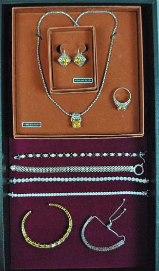9 PIECE STERLING FASHION JEWELRY GROUP