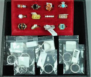 12 STERLING FASHION RINGS AND 7 CZ BANDS