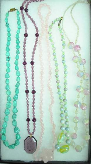 5 BEADED NECKLACES