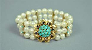 14K PEARL, SAPPHIRE & TURQUOISE BRACELET