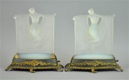 PAIR R. LALIQUE OPALESCENT 'SUZANNE' GLASS FIGURES