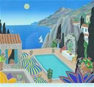 THOMAS MCKNIGHT SERIGRAPH - POOL WITH OCEAN VIEW