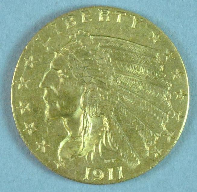 1911 INDIAN HEAD $2.50 GOLD COIN