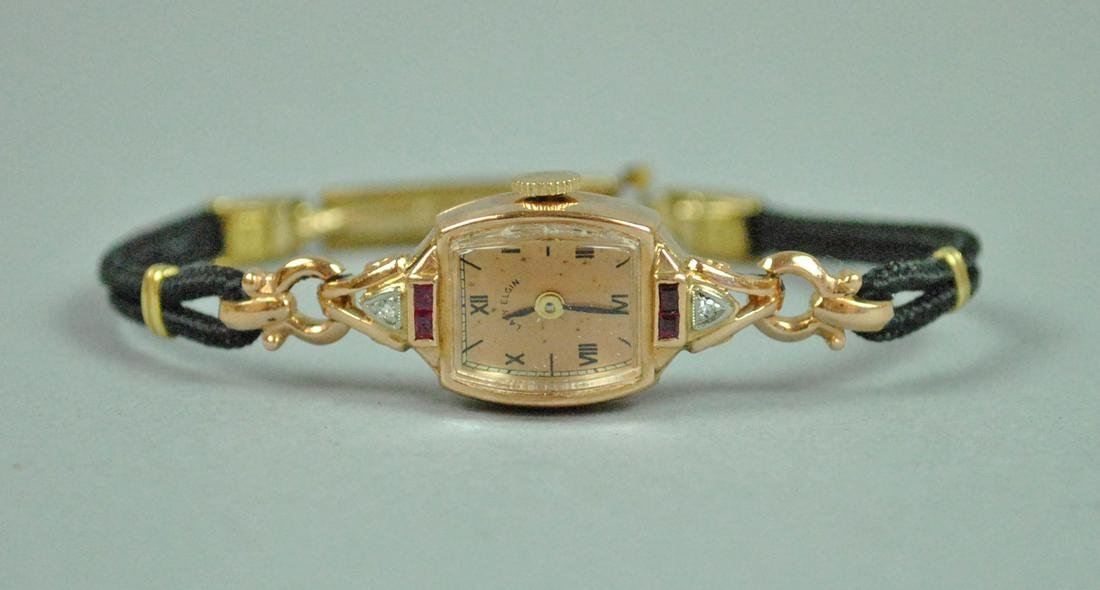 RETRO RUBY & DIAMOND ROSE GOLD CASE WATCH