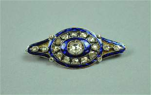 VICTORIAN SILVER & BLUE ENAMEL DIAMOND PIN, 1.5CTW