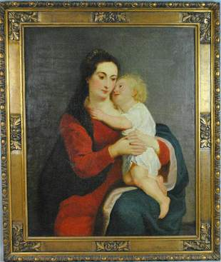 LARGE (19THC.) MADONNA OR MOTHER & CHILD PAINTING