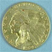 1926 US INDIAN HEAD $2.50 QUARTER EAGLE GOLD COIN