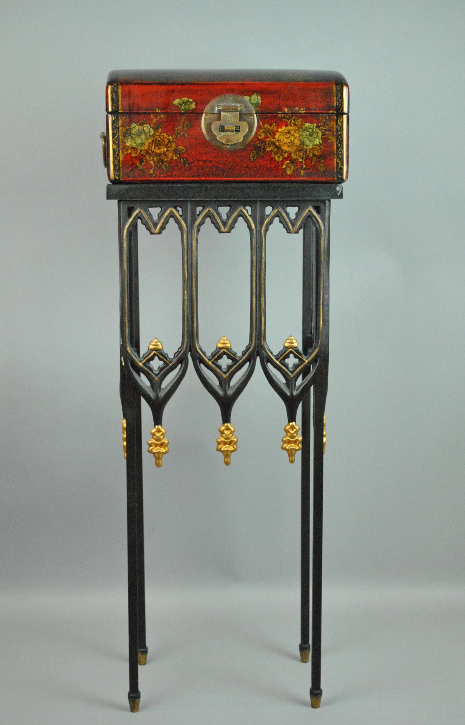 CHINOISERIE DECORATED WINE BOX ON STAND