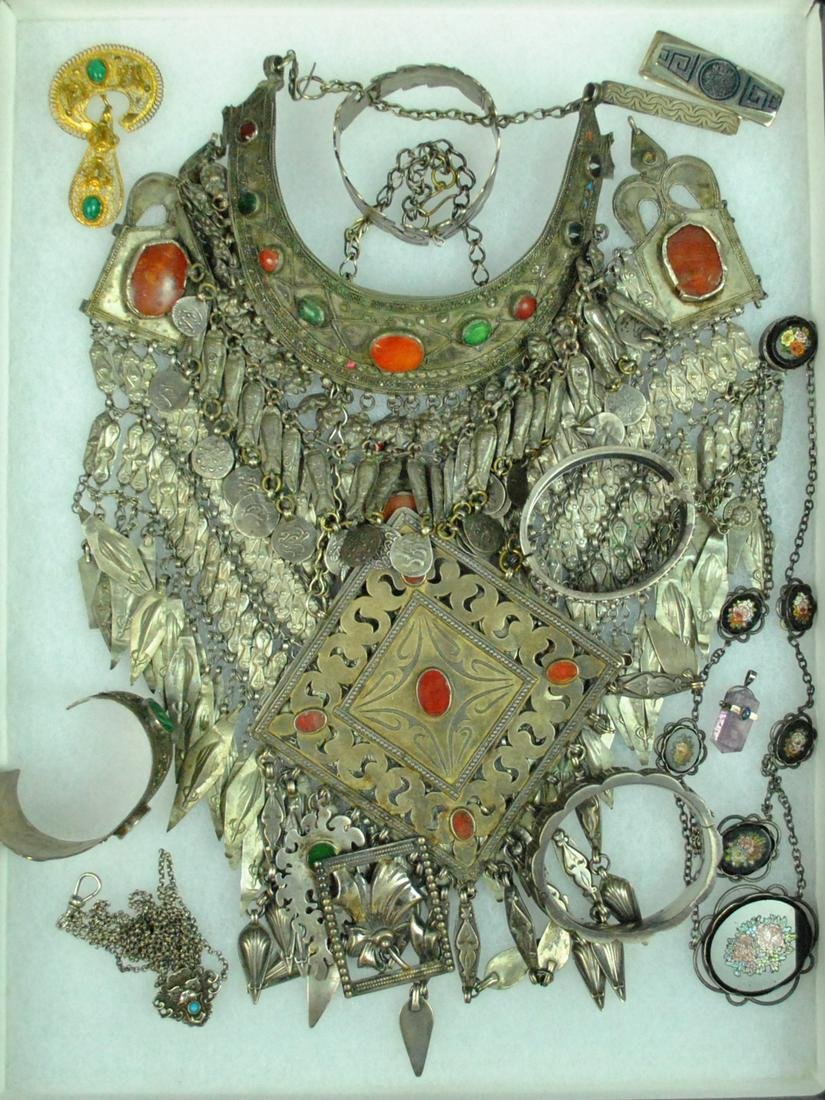 (15) PIECE ANTIQUE & VINTAGE SILVER JEWELRY GROUP