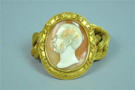 21K BRACELET W/CAMEO SIGNED T. SAULINI (1793-1864)