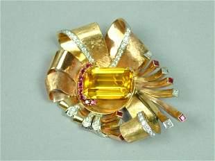 LARGE RETRO CITRINE RUBY DIAMOND CLIP BROOCH