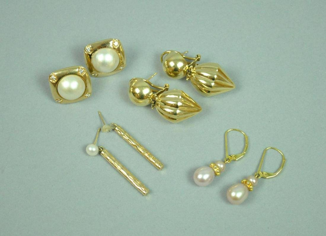 (4) PAIRS 14K GOLD EARRINGS