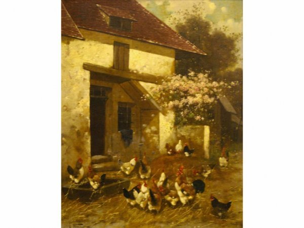 """8: BARNYARD WITH CHICKENS"""" SIGNED H. FOLLIOT"""""""