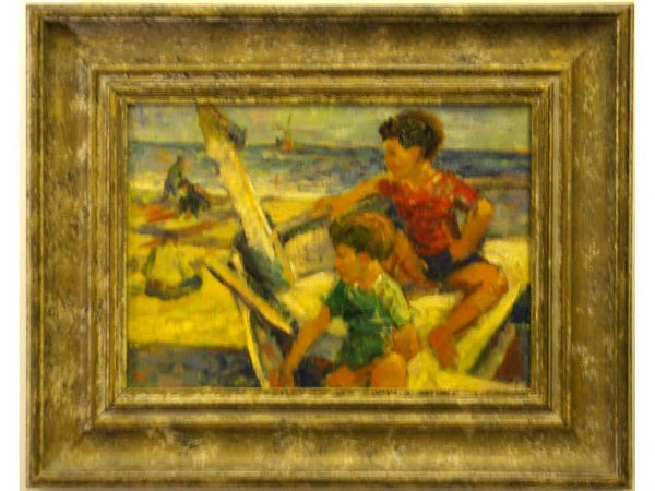 """20: IMPRESSIONIST PAINTING TWO BOYS IN A BOAT"""""""""""