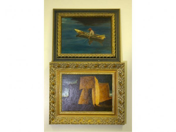 22: TWO PAINTINGS SIGNED R.J. PISCIOTTA