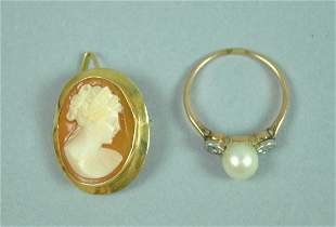 14K PEARL DIAMOND RING AND AN 18K CAMEO
