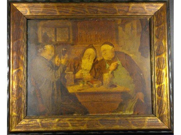 10: 19TH CENTURY GENRE PAINTING ON WOOD PANEL