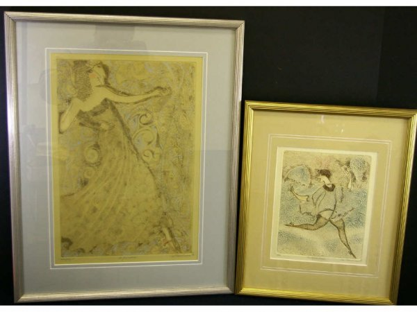 20: TWO SIGNED WHIMSICAL ETCHINGS