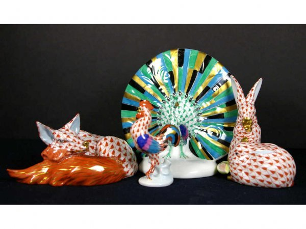 204: FOUR HEREND ANIMAL FIGURINES