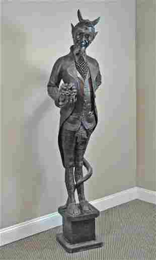 19THC. LIFE SIZE CARVED SATYR FIGURE
