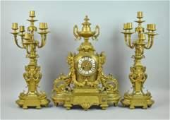 LARGE 19THC. FRENCH GILT BRONZE CLOCK GARNITURE
