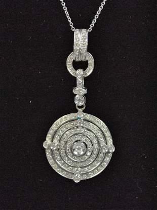 ITALIAN 18K DIAMOND CIRCLE PENDANT ON CHAIN