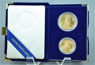 1988 AMERICAN EAGLE 2-COIN GOLD PROOF SET