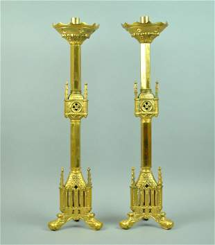 PAIR LG. DORE BRONZE GOTHIC CATHEDRAL CANDLESTICKS