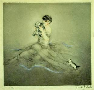LOUIS ICART ETCHING - LITTLE KITTENS