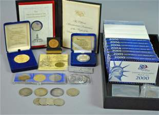 ESTATE COLLECTION OF SILVER COINS, SETS AND MEDALS