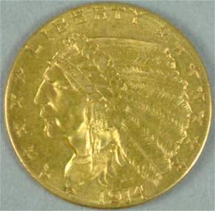 1914-D $2.50 QUARTER EAGLE INDIAN HEAD GOLD COIN