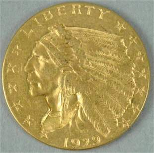 1929 $2.50 QUARTER EAGLE INDIAN HEAD GOLD COIN