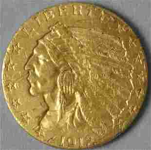 1912 $2.50 QUARTER EAGLE INDIAN HEAD GOLD COIN