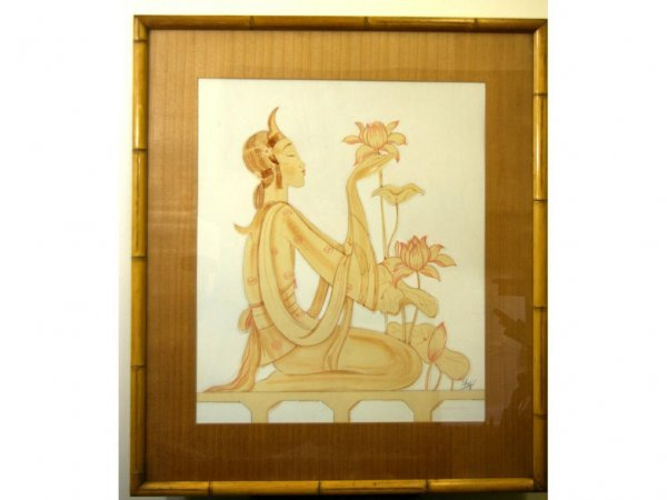 WATERCOLOR DEPICTING A  WOMAN WITH LOTUS FLOWERS